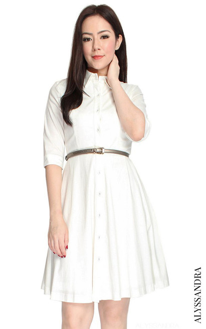 Classic Mid Sleeve Shirt Dress - White