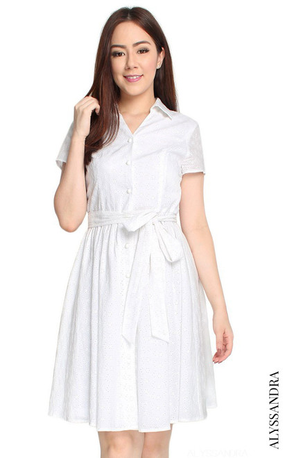 Eyelet Shirt Dress - White