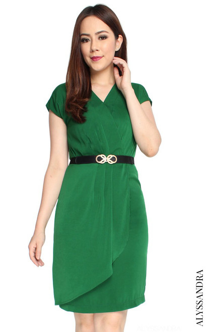 Pleated Overlap Dress - Emerald