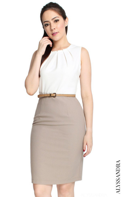 Gathered Neckline Pencil Dress - White