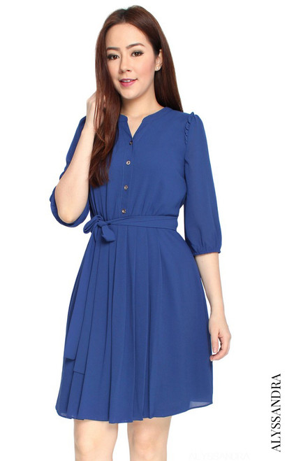 Buttons Pleated Chiffon Dress - Blue