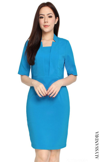 Notch Collar Pencil Dress - Blue