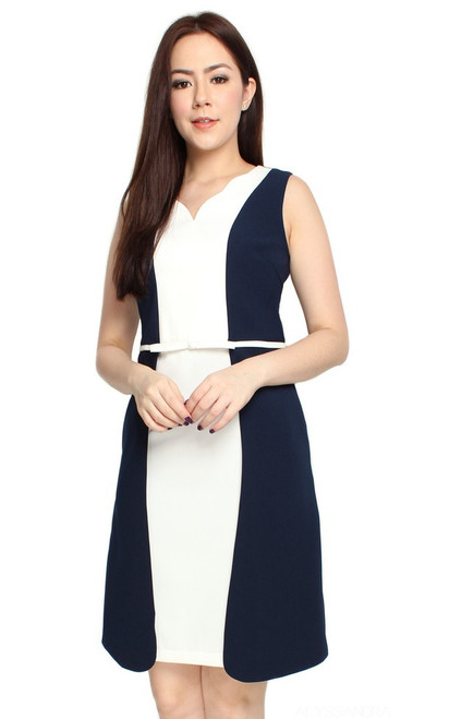 Contrast Layers Dress - Navy