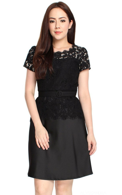 Lace Top Flare Satin Dress - Black