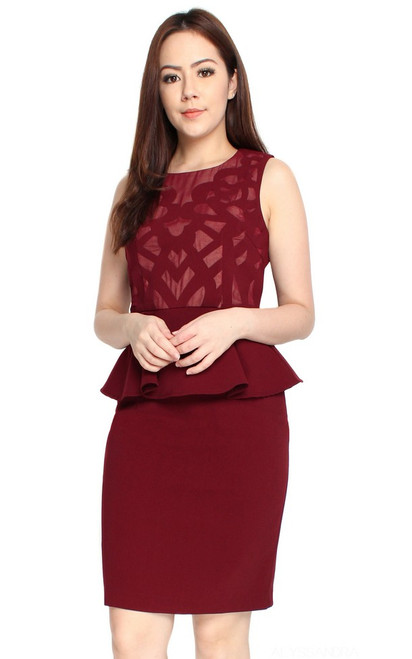 Artwork Peplum Dress - Wine