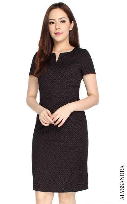 Notch Neck Pencil Dress - Dotted Midnight Blue