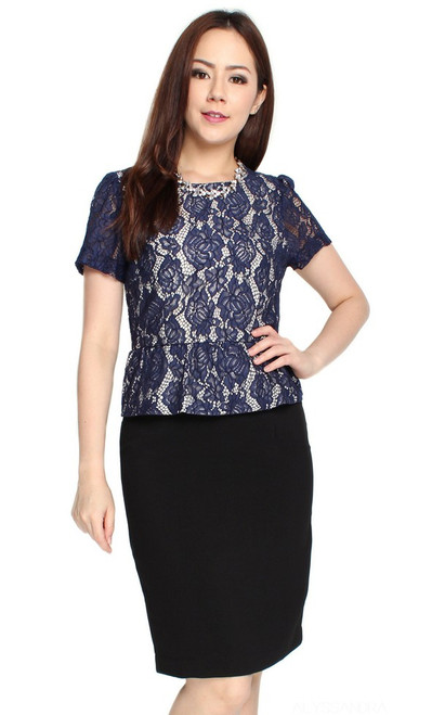 Lace Top Peplum Dress