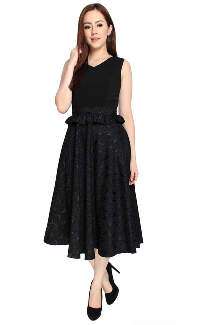 Embossed Midi Flare Dress