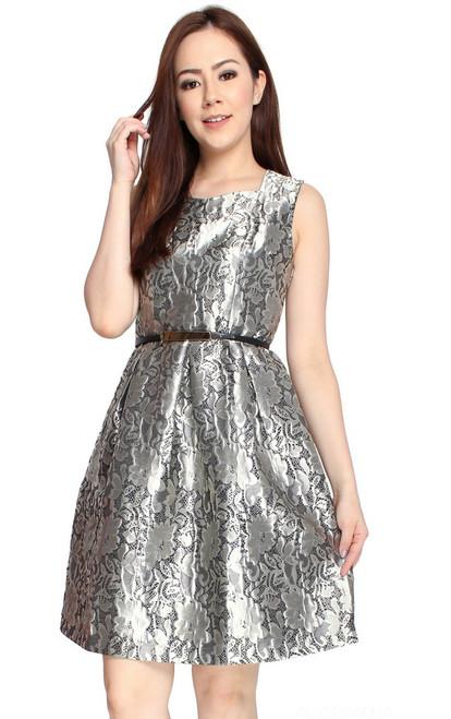 Metallic Brocade Dress - Silver
