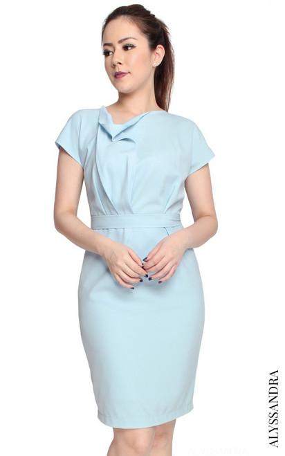 Asymmetrical Draped Crepe Dress - Baby Blue