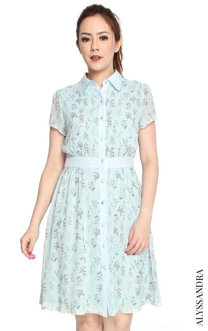 Floral Print Shirt Dress - Baby Blue