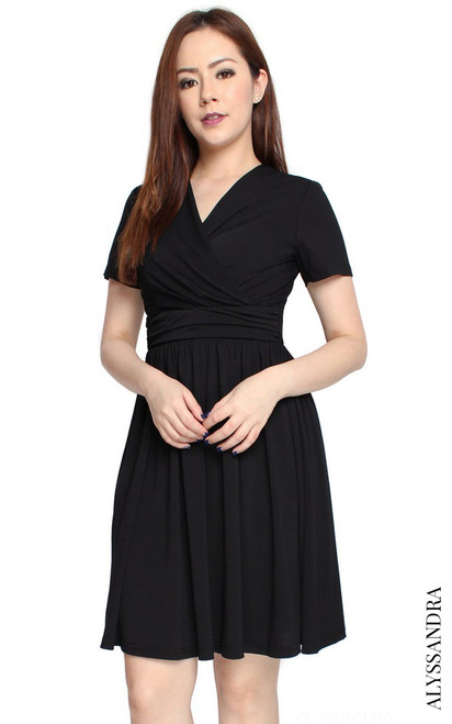 Faux Wrap Jersey Dress II- Black
