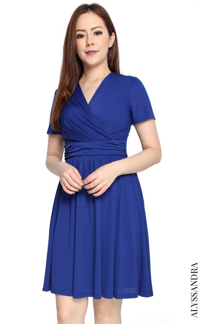 Faux Wrap Jersey Dress II - Blue
