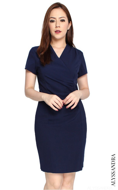 Ruched Work Dress - Navy