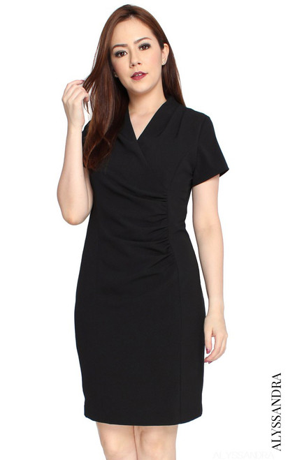 Ruched Work Dress - Black