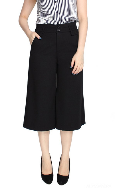 Wide Leg Culottes - Black II