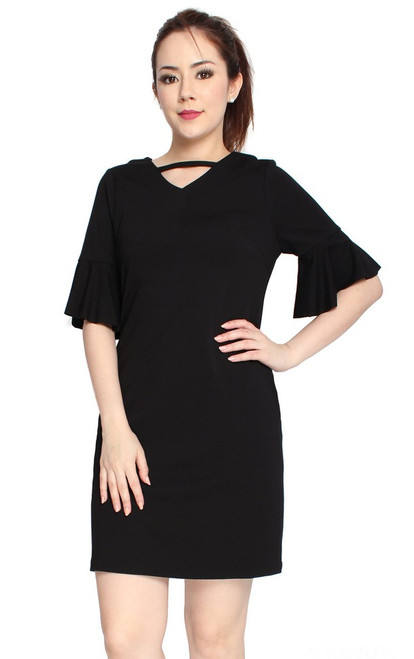 Trumpet Sleeves Dress - Black