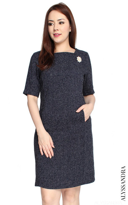 Tweed Sheath Dress - Navy