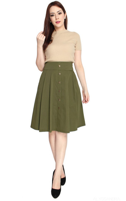 Buttons A-line Skirt - Olive