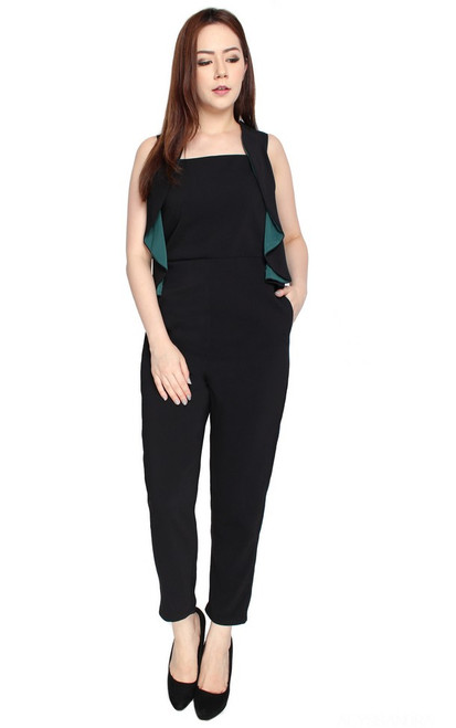 Draped Ruffle Jumpsuit