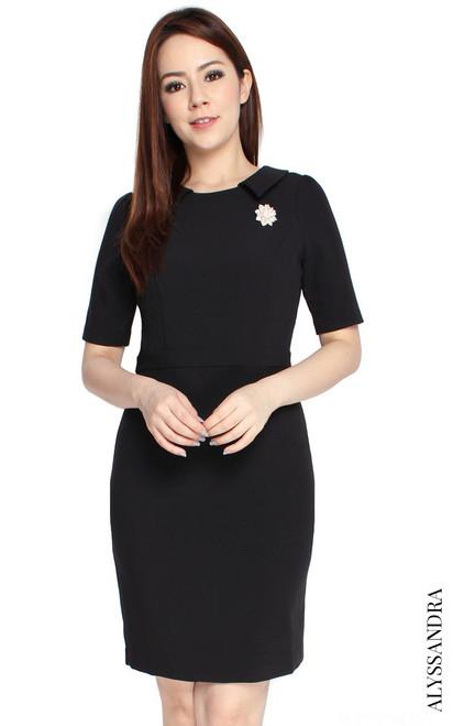 Collared Pencil Dress - Black