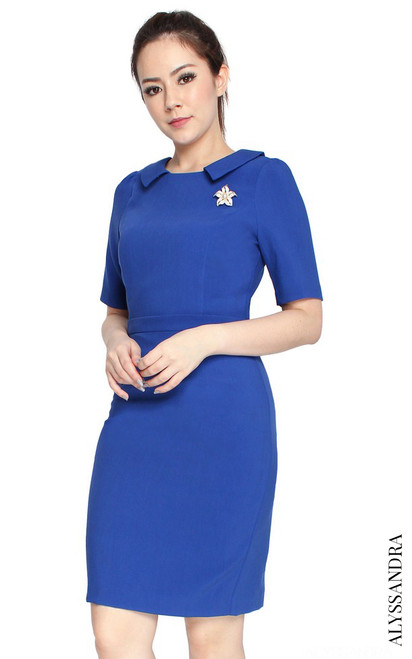 Collared Pencil Dress - Blue