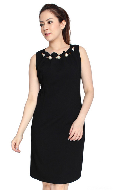 Pearl Neck Sheath Dress - Black