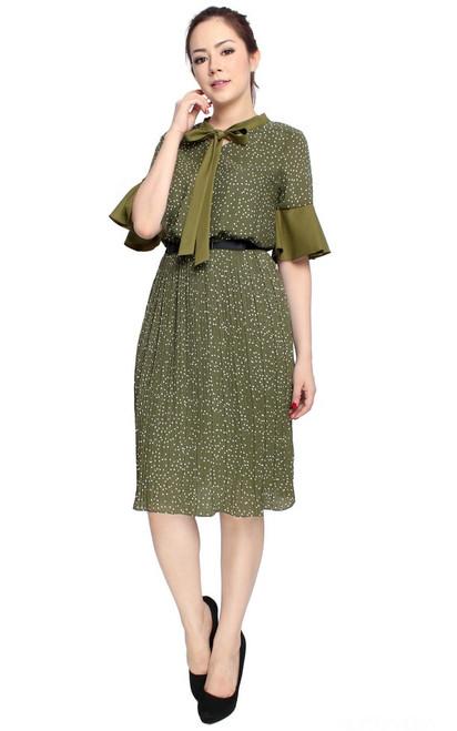 Polka Dot Pleated Dress - Olive