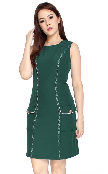 Contrast Stitch Pockets Dress - Forest Green