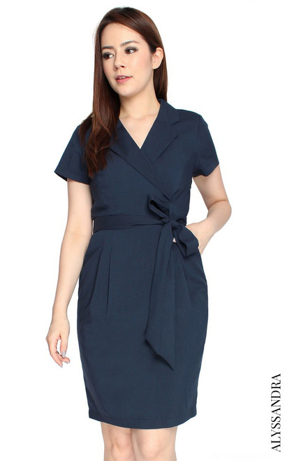 Tux Pencil Dress - Navy