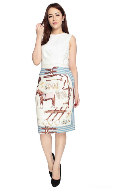 Scarf Print Pencil Dress - White