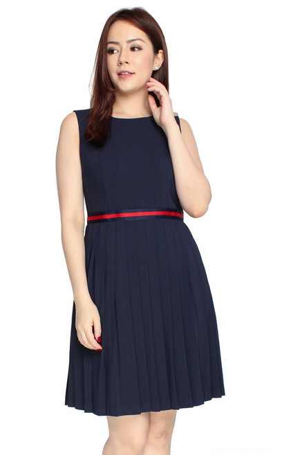 Ribbon Waist Pleated Dress - Navy