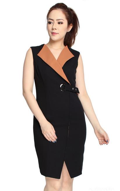 Contrast Tuxedo Dress