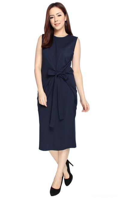 Tie Front Dress - Navy