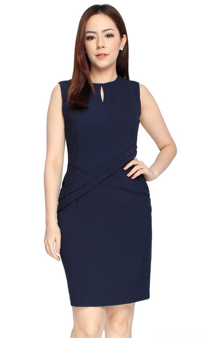 Criss Cross Pencil Dress - Navy