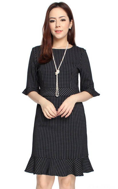 Grid Fluted Hem Dress