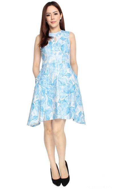 Leaf Print Flare Dress - Blue