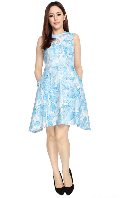 Leaf Print Flare Dress - Blue