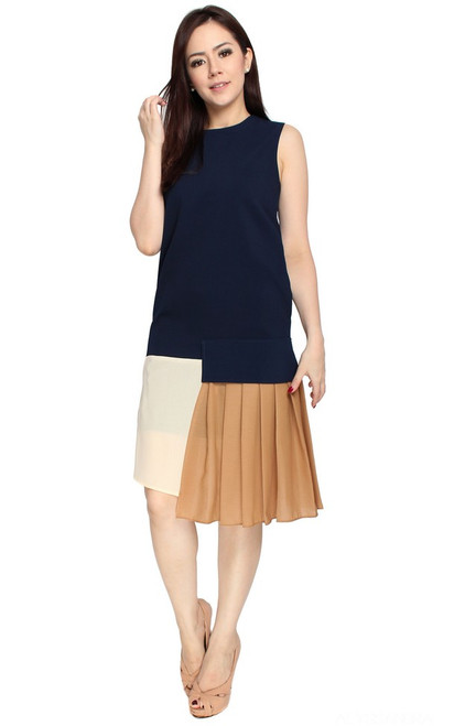 Asymmetrical Drop Hem Midi Dress