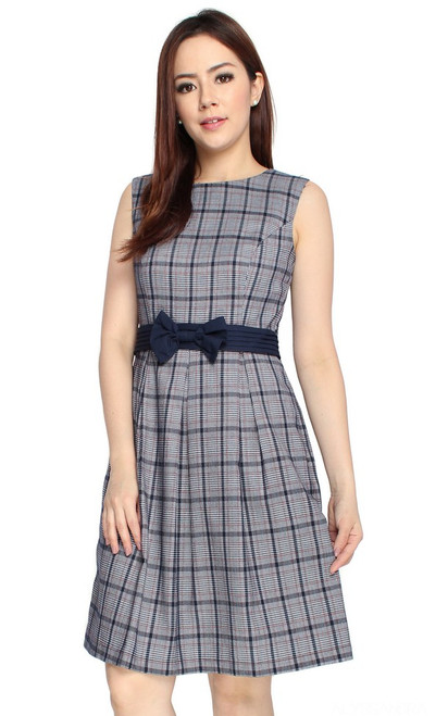Bow Checkered Dress