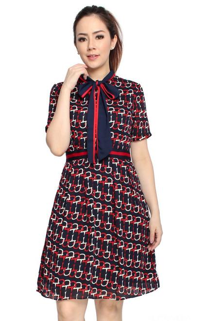Printed Neck Tie Dress