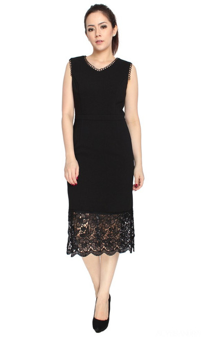 Lace Hem Midi Dress