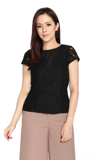 Eyelash Lace Top - Black