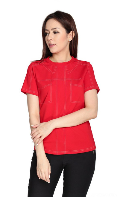 Contrast Stitch Top - Red