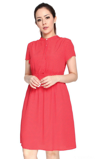 Polka Dot Button Front Dress - Red