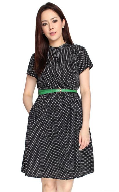 Polka Dot Button Front Dress - Black
