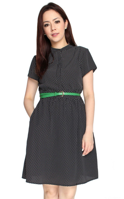 Polka Dot Button Front Dress - Black