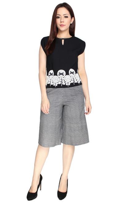 Lace Motif Top - Black