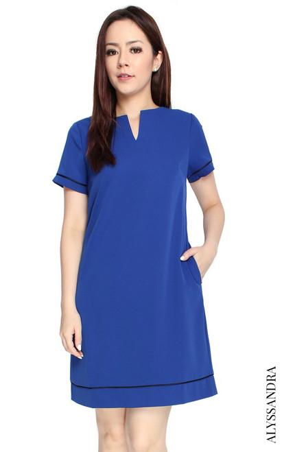 Notch Neck Shift Dress - Cobalt