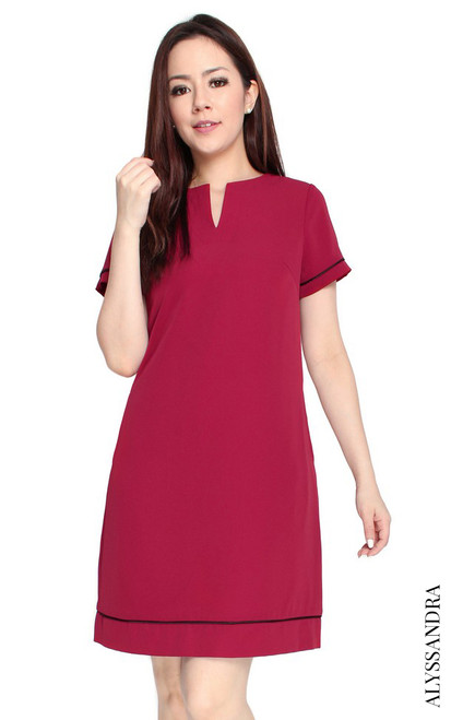 Notch Neck Shift Dress - Wine